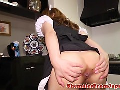 Newhalf maid barebacked plowed after blowjob