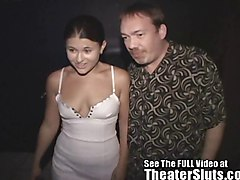 Tampa Slut Wife Pleases Strangers In a Seedy Porn Theater