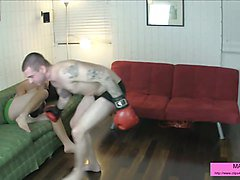 dirty boxing male male ballbusting