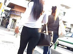 Voyeur tight ass in jeans walking the streets