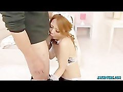 Hot Asian maid polishes a flesh pole with her lips