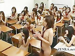 Busty Japan schoolgirl strips nude in front of students