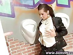 Bukkake gloryhole slut slime showered