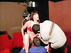 Hot girl gets gangbanged in a cinema room
