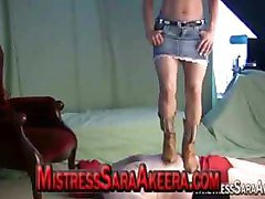 Mistress Sara tramples male submissives