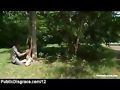 Tied up babe suck dick and toyed in the park in the middle of the
