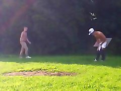 young guy getting caught jerking off at the park