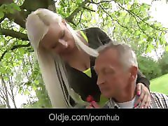 skinny rich old man fucks his busty blonde girlfriend in the garden