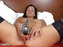 brutal gyno dildos in her snatch