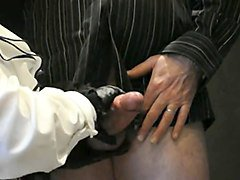 mistress hard handjob with leather gloves