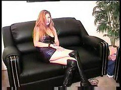 Whore In Latex And High Boots Gives Trimmed Cunt