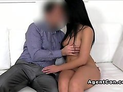 brunette amateur fucks and gets cum on casting