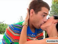 sexy stepmom india summer hot ffm trio with teens outdoors