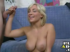 handjob from the busty blonde