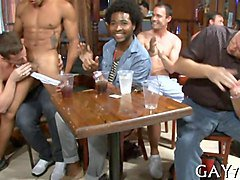 black ripped stripper gets sucked off by bar full of dudes