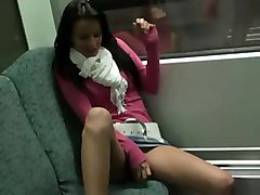 Real Amateur Hottie Masturbating On The Train