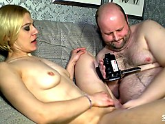 amateur blonde fucks a disgusting fat and bald guy