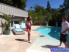 slutty daughter nina north seduces and fucks lucky pool man