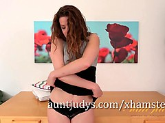luscious housewife can't get enough of a long stick plowing