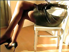 Brown Stockings Leather Miniskirt