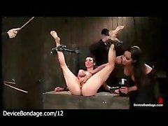Bound Babe Pussy Licked And Feet Whipped In Dungeon