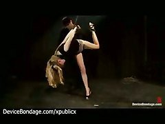 Bound Babe Balancing On Foot Whipped And Toyed