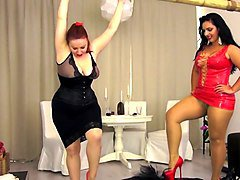 Mistress Ezada and Lady Yna Trampling mat audition with