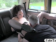 busty babe in stockings gets fucked in the cab for free