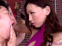 bigboobed japanese femdom sucks and fucks sub