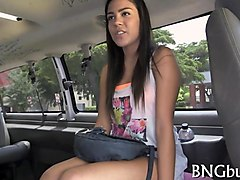 dark teen babe with tan lines sucks dick in bang bus