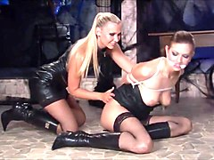 Hot & Horny Lesbian In Leather two