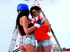 Lesbos get cream enemas