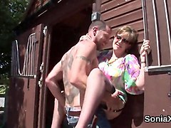cheating british milf lady sonia flashes her massive jugs