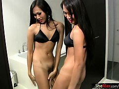 teen ladyboy in black bra and white panties does pov blowjob