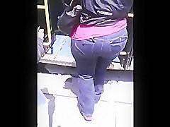 BBW Ebony In Jeans Getting On Bus