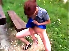 Piss and enema outdoor