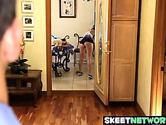 mr rock pounds his sons gorgeous brunette babysitter kimmy