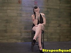 Strapon slut roughly strapon fucked in trio