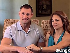 excited couple visiting swinger house and enjoys being there