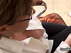 Cheating english milf gill ellis showcases her big balloons