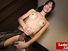 stockinged ladyboy beauty solo jerk and jizz