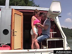 Teen Antonia taking a large cock on a boat