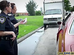 Doggy style cops threesome interracial