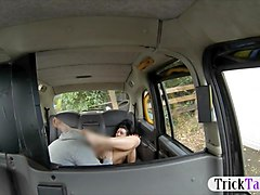 Tattooed woman anal banged in the taxi