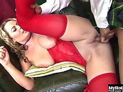 blonde with big boobs, alexis may, gets it on with her asian houseboy,
