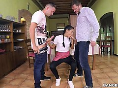 euro waitress shows off ass and threeway