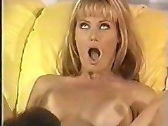 Cute Blonde rides big cock on yellow couch